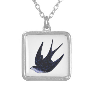 swallow paper cut (free) silver plated necklace