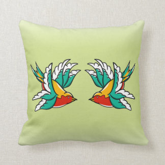 Swallow Sailors Tattoo Throw Pillow