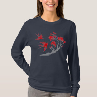 Swallows and Flowers T-shirt - Custom