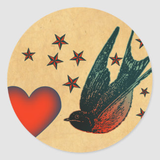 Swallows and Stars Round Sticker