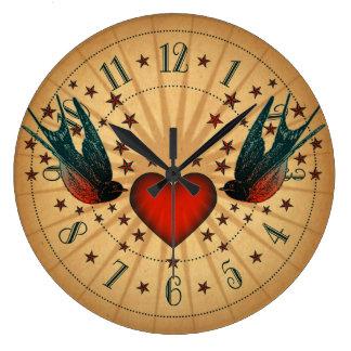 Swallows And Stars Tattoo Art Large Clock