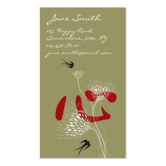 Swallows Birds Chinese Heart Oriental Kanji Floral Business Card Templates