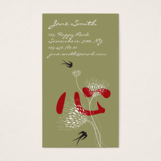 Swallows Birds Chinese Heart Oriental Kanji Floral Business Card