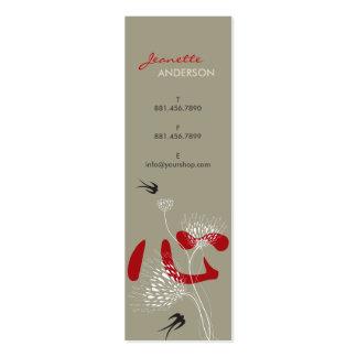 Swallows Birds Chinese Heart Oriental Kanji Floral Mini Business Card