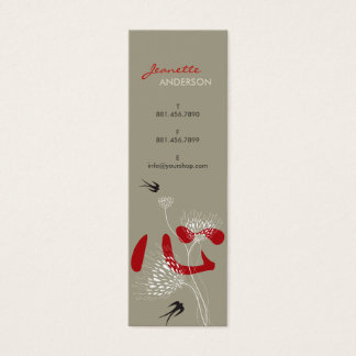 Swallows Birds Chinese Heart Oriental Kanji Floral Mini Business Card