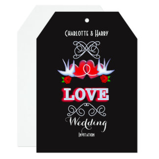Swallows Hearts And Red Roses Wedding Card