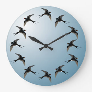 Swallows in Flight Wall Clock