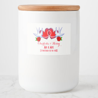 Swallows Love Hearts Red Roses Personalized Food Label
