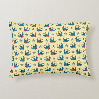 Swallows & Nautical Stars Accent Pillow