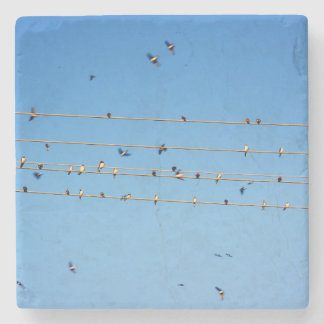 Swallows on wire stone beverage coaster