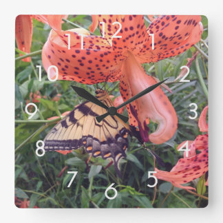 Swallowtail Butterfly and Tiger Lily Wall Clock