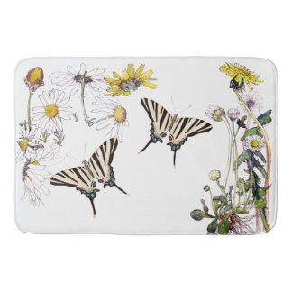 Swallowtail Butterfly Daisy Flower Floral Bath Mat