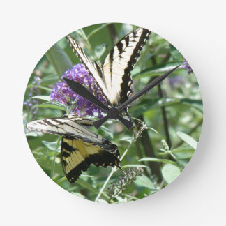 Swallowtail Butterfly Flowers Floral Wildlife Clock