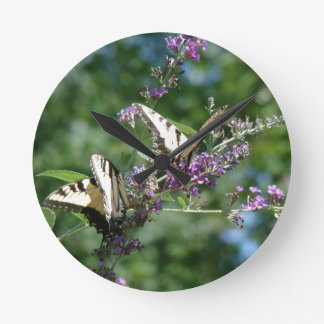 Swallowtail Butterfly Flowers Floral Wildlife Wall Clock