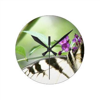 Swallowtail Butterfly Flowers Floral Wildlife Wallclock