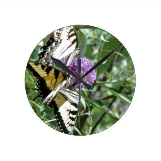 Swallowtail Butterfly Flowers Floral Wildlife Wallclocks
