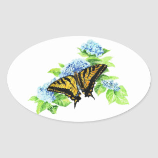 Swallowtail  Butterfly Hydrangea Flower Oval Sticker