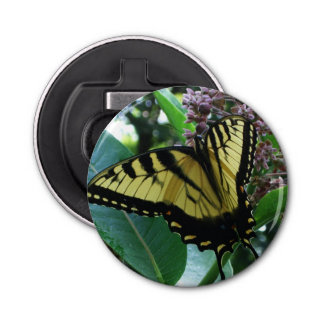 Swallowtail Butterfly I on Milkweed at Shenandoah Button Bottle Opener
