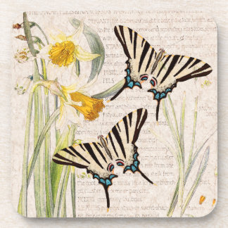 Swallowtail Butterfly Narcissus Flowers Coaster