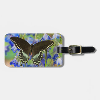 Swallowtail Butterfly on blue Luggage Tag