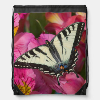 Swallowtail Butterfly on pink Drawstring Bag