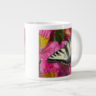 Swallowtail Butterfly on pink Large Coffee Mug