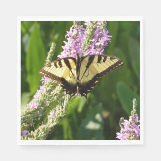 Swallowtail Butterfly on Purple Wildflowers Disposable Napkins