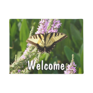 Swallowtail Butterfly on Purple Wildflowers Doormat