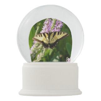 Swallowtail Butterfly on Purple Wildflowers Snow Globe