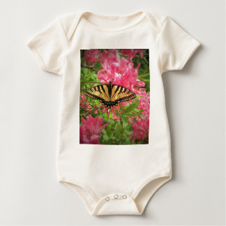 Swallowtail Butterfly Sits on Pink Azaleas Baby Bodysuit