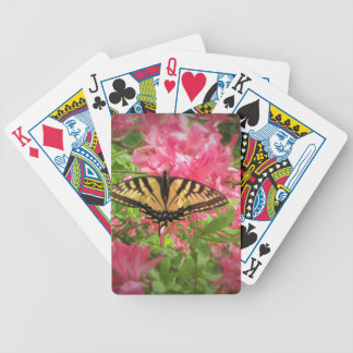 Swallowtail Butterfly Sits on Pink Azaleas Bicycle Playing Cards
