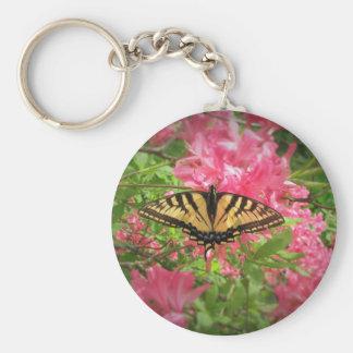 Swallowtail Butterfly Sits on Pink Azaleas Keychain