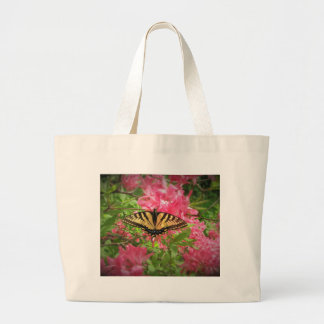 Swallowtail Butterfly Sits on Pink Azaleas Large Tote Bag