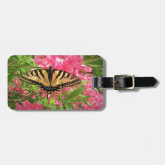 Swallowtail Butterfly Sits on Pink Azaleas Luggage Tag