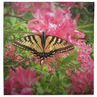 Swallowtail Butterfly Sits on Pink Azaleas Napkin