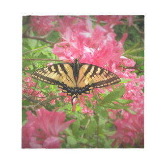 Swallowtail Butterfly Sits on Pink Azaleas Notepad