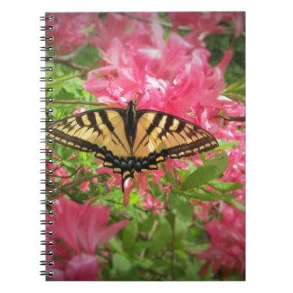 Swallowtail Butterfly Sits on Pink Azaleas Spiral Notebook