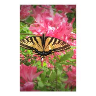 Swallowtail Butterfly Sits on Pink Azaleas Stationery