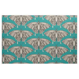 swallowtail butterfly teal black fabric