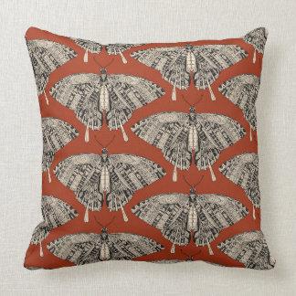 swallowtail butterfly terracotta black throw pillow