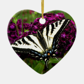 Swallowtail on the Butterfly Bush Ceramic Heart Ornament