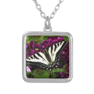 Swallowtail on the Butterfly Bush Silver Plated Necklace