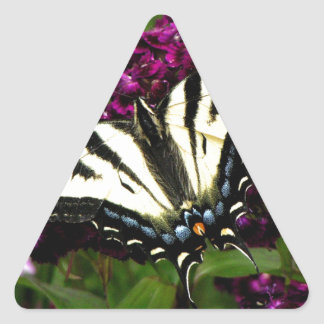 Swallowtail on the Butterfly Bush Triangle Sticker