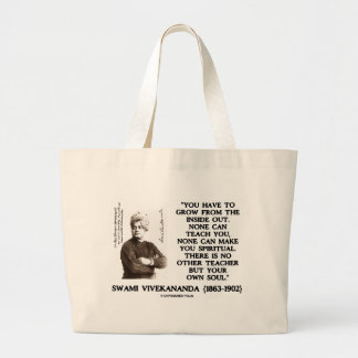 Swami Vivekananda Grow From Inside Out Spiritual Large Tote Bag