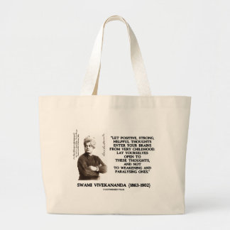 Swami Vivekananda Positive Strong Helpful Thoughts Large Tote Bag