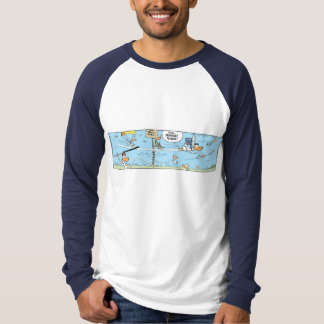 Swamp Airport Runway Cartoon Strip T-Shirt