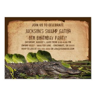 Swamp Alligator Custom Birthday Party Invitation