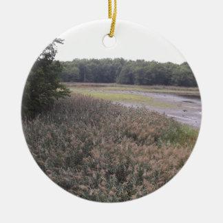 Swamp view round ceramic ornament