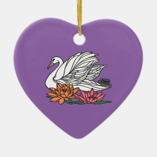 Swan 2 ceramic ornament
