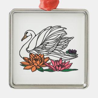 Swan 2 metal ornament